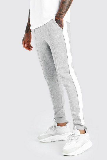 Grey marl grey MAN Skinny Fit Jogger With Piping Side Panel