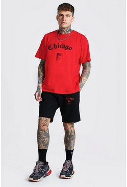Red Oversized Chicago Hi-lo T-shirt and Short Set