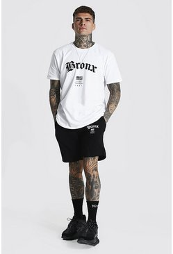 White Oversized Bronx Hi-lo T-shirt & Short Set
