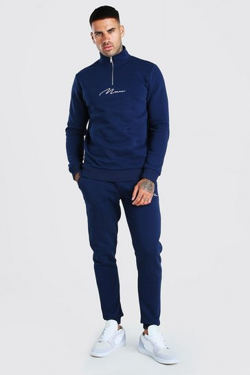 Navy MAN Signature Half Zip Tracksuit