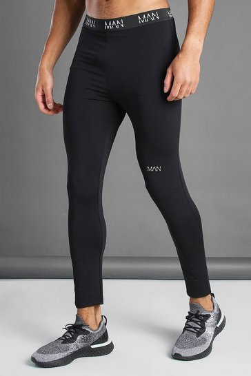 Black MAN Active Training Tights With Waistband Detail