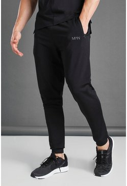 Black Skinny Fit Active Gym Joggers With Zip Pockets