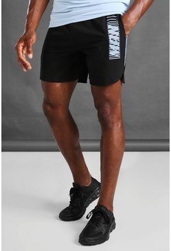 Black Active MAN Print Gym Runner Shorts