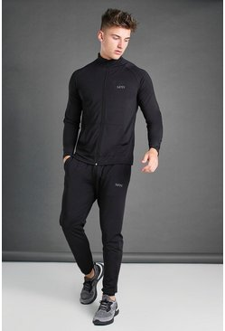 Black Active Funnel Gym Tracksuit