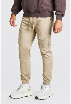 Stone beige Skinny Fit Cargo Pants With Cuff