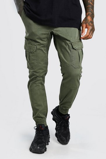 Khaki Skinny Fit Cargo Trouser With Cuff