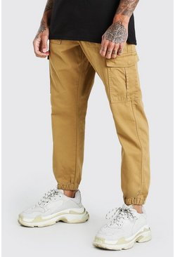 Sand beige Loose Fit Cuffed Cargo Pants