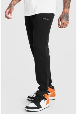 Black MAN Signature Loose Fit Joggers