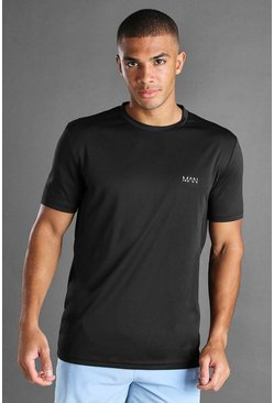 Black MAN Active T-Shirt With Mesh Panel