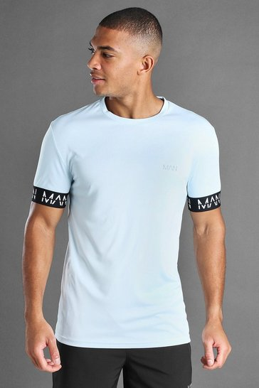 Blue MAN Active Muscle Fit T-Shirt With MAN Cuff Detail