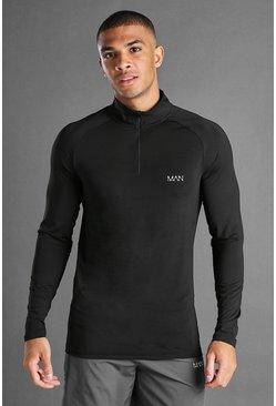 Black MAN Active Muscle Zip Funnel Neck Top