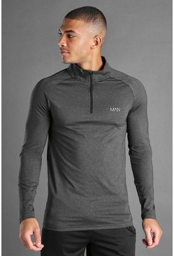 Black MAN Active Funnel Neck Top In Fabric Interest