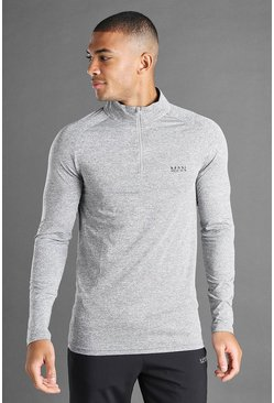 Charcoal MAN Active Funnel Neck Top In Fabric Interest