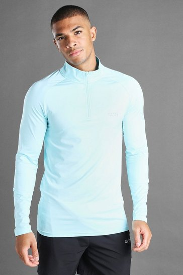 Blue MAN Active Funnel Neck Top In Fabric Interest