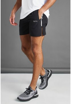 Zwart black MAN Active shorts met splitzoom