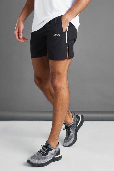 Black MAN Active Shorts With Split Hem