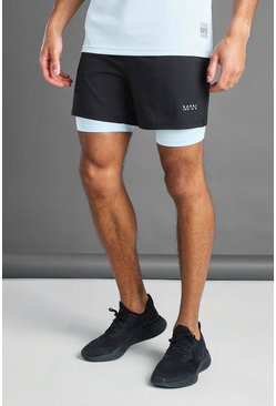 Black MAN Active 2-IN-1 Contrast Compression Shorts