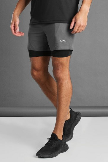 Charcoal grey MAN Active 2-IN-1 Contrast Compression Shorts