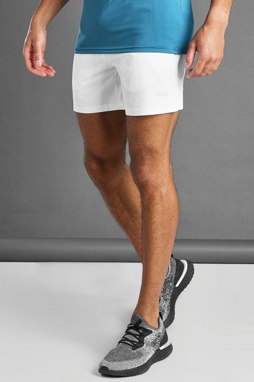 White MAN Active Shorts With MAN Waistband Detail