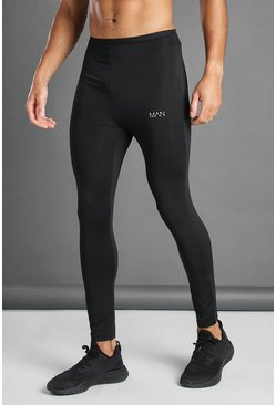 Black MAN Active Tight With Contrast Back Print