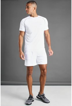 White MAN Active Reflective Piping T-Shirt And Short