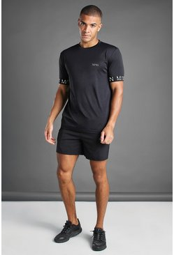 Black MAN Active Elasticated Cuff T-Shirt And Short Set