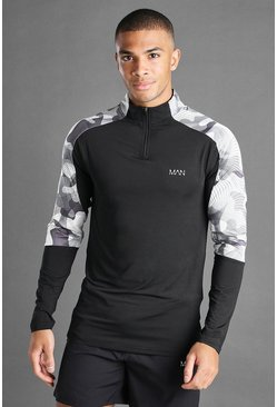 Black MAN Active Funnel Neck Top With Camo Panels