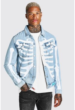 Light blue Regular Fit Denim Jacket With Skeleton Print
