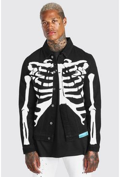 Black Regular Fit Denim Jacket With Skeleton Print