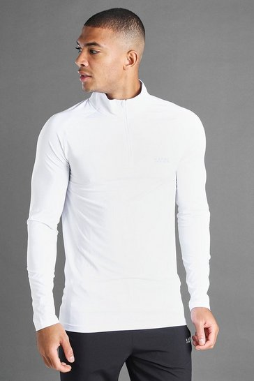 White MAN Active Muscle 1/4 Zip Funnel Neck Top