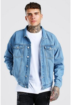 Light blue blå Oversized Denim Jacket
