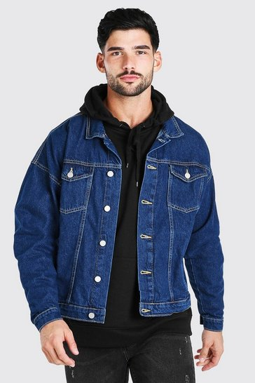 Mid blue blue Oversized Denim Jacket