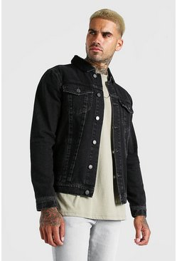 Charcoal grey Regular Denim Jacket With Borg Collar
