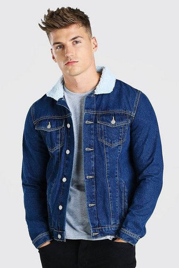 Mid blue blue Regular Denim Jacket With Borg Collar