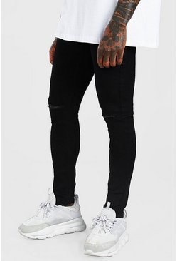 Black Super Skinny Jeans With Knee Slit