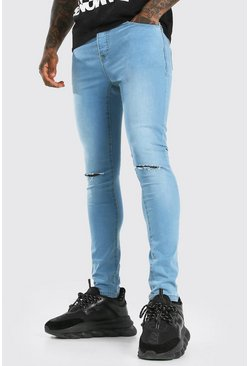 Light blue blue Super Skinny Jeans With Knee Slit