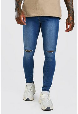 Mid blue blue Super Skinny Jeans With Knee Slit