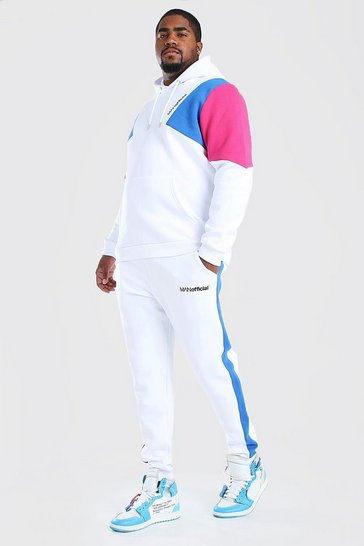 White Big & Tall MAN Colour Block Tracksuit