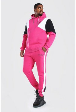 Pink Big & Tall MAN Official Colour Block Tracksuit