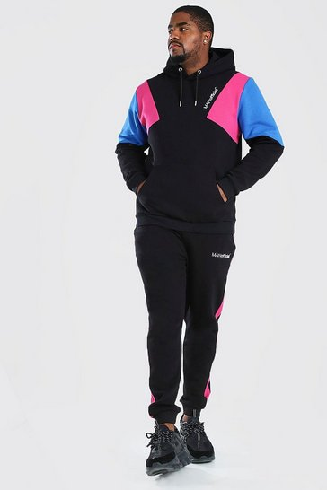 Black Big & Tall MAN Official Colour Block Tracksuit
