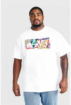 White Plus Size Marvel Torn Logo License T-Shirt