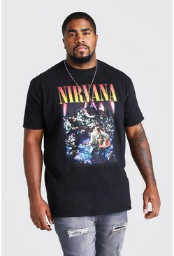 Black Plus Size Nirvana License Print T-Shirt