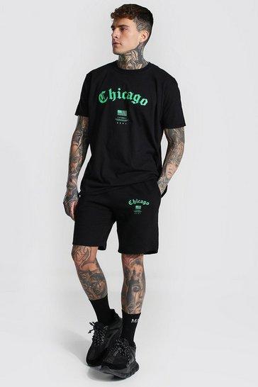 Black Oversized Chicago Print T-shirt and Short Set
