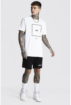 White Oversized Offcl Box Print Tee & Short Set