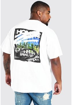 "White vit Big & Tall - ""Homme"" T-shirt med tryck bak"