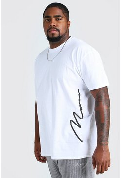 White Plus Size MAN Signature Side Print T-Shirt