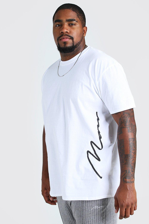 TOPS Plus Size MAN Signature Side Print T-Shirt