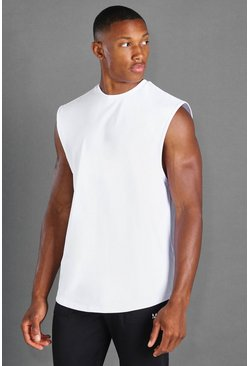 White MAN Active Loose Fit Drop Armhole Tank
