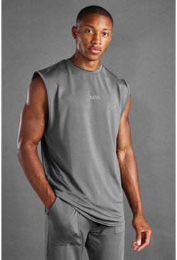 Charcoal MAN Active Loose Fit Drop Armhole Tank