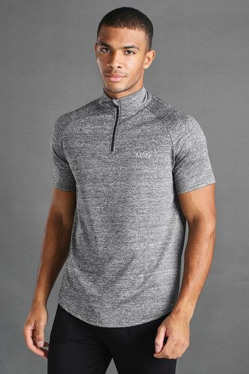 Grey marl grey MAN Active 1/4 Zip Marl Funnel Neck T-Shirt